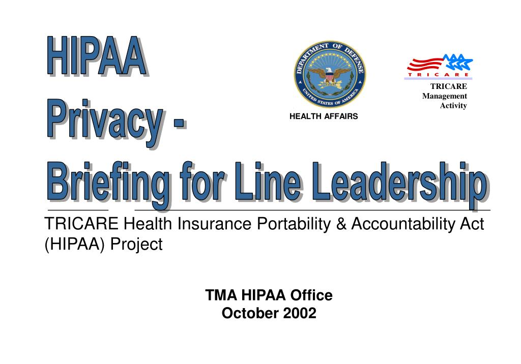 tricare health insurance portability accountability act hipaa project l.