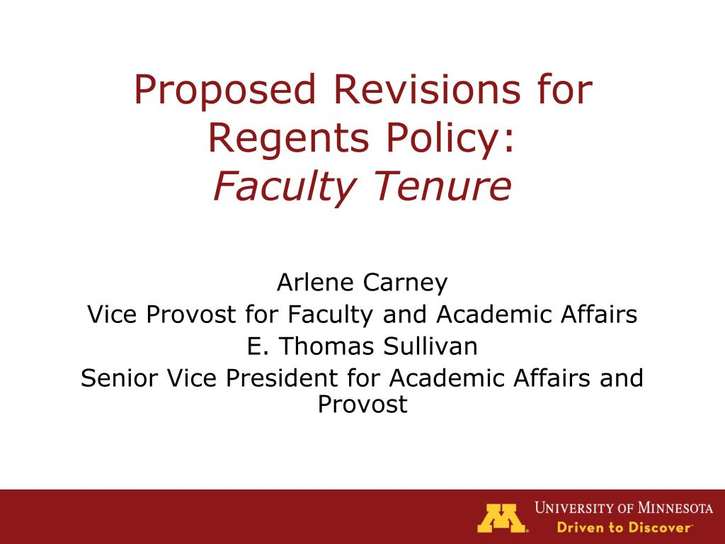 proposed revisions for regents policy faculty tenure l.