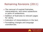 remaining revisions 2011