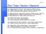 date topic speaker opponent
