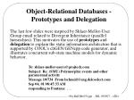 object relational databases prototypes and delegation