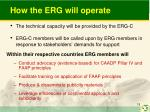 how the erg will operate