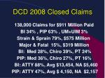 dcd 2008 closed claims