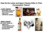how do the lower and upper classes differ in their consumption tastes