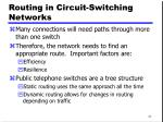 routing in circuit switching networks