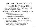 method of measuring labor standards