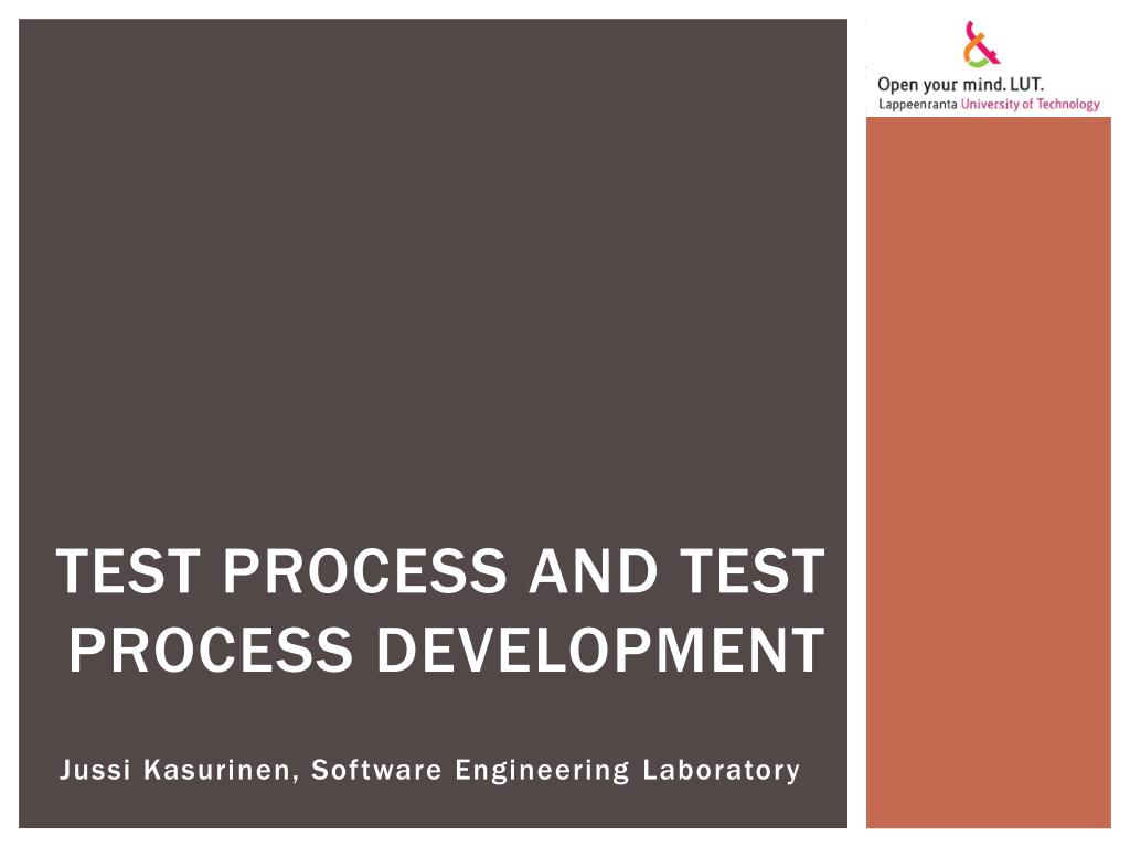 test process and test process development l.