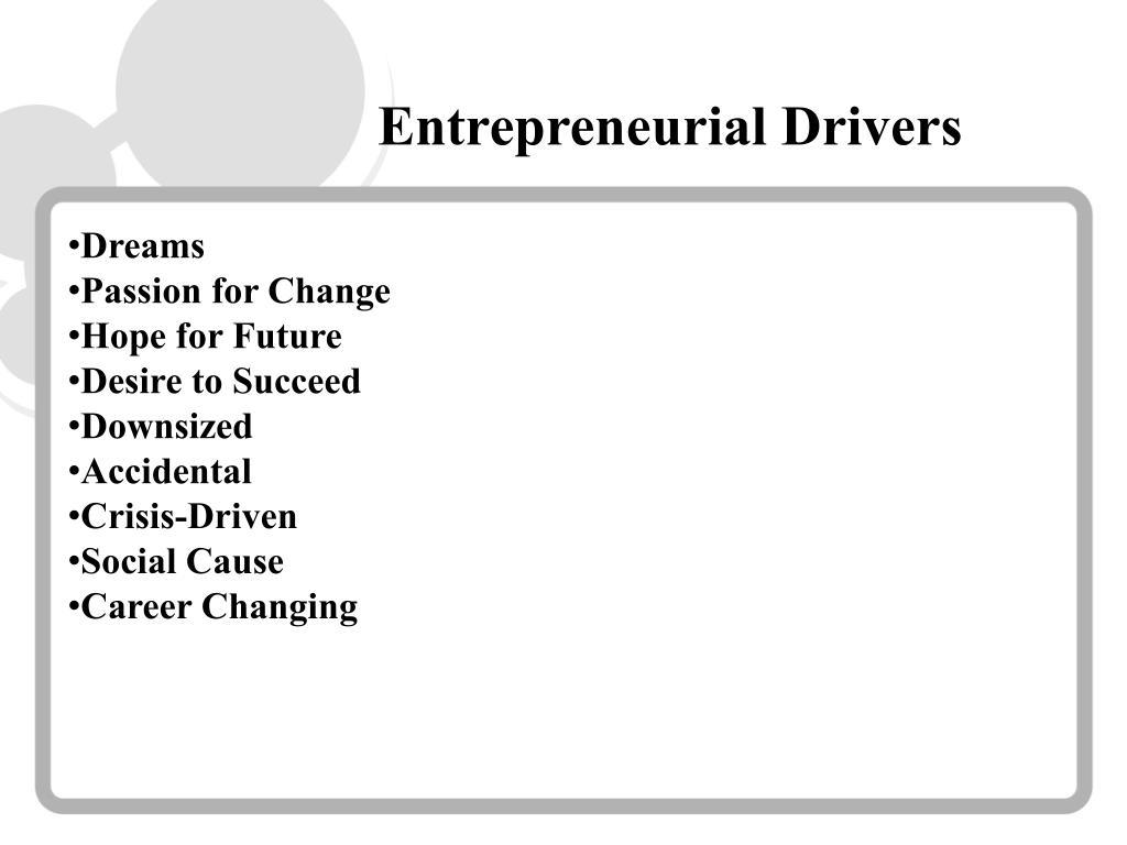 Entrepreneurial Drivers