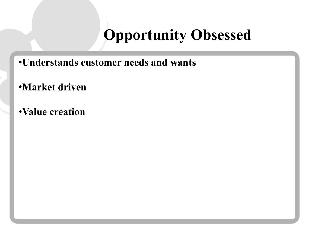 Opportunity Obsessed