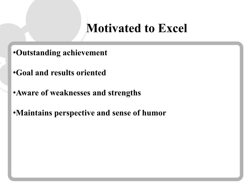Motivated to Excel