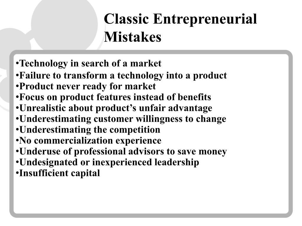 Classic Entrepreneurial Mistakes