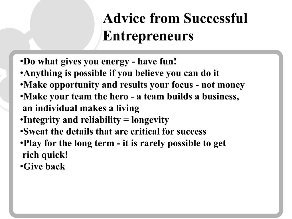 Advice from Successful Entrepreneurs