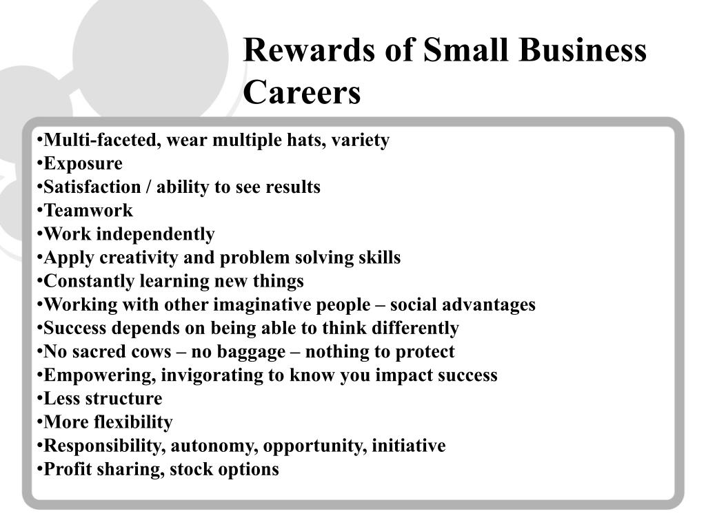 Rewards of Small Business Careers