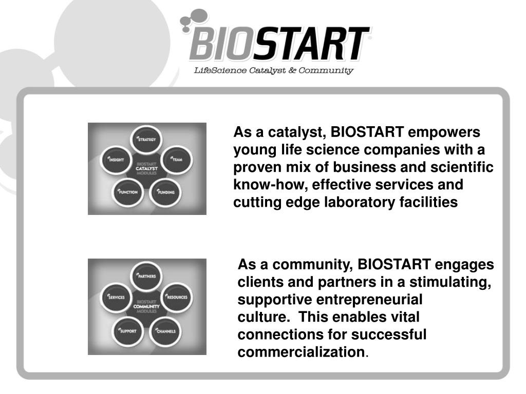 As a catalyst, BIOSTART empowers young life science companies with a proven mix of business and scientific know-how, effective services and cutting edge laboratory facilities