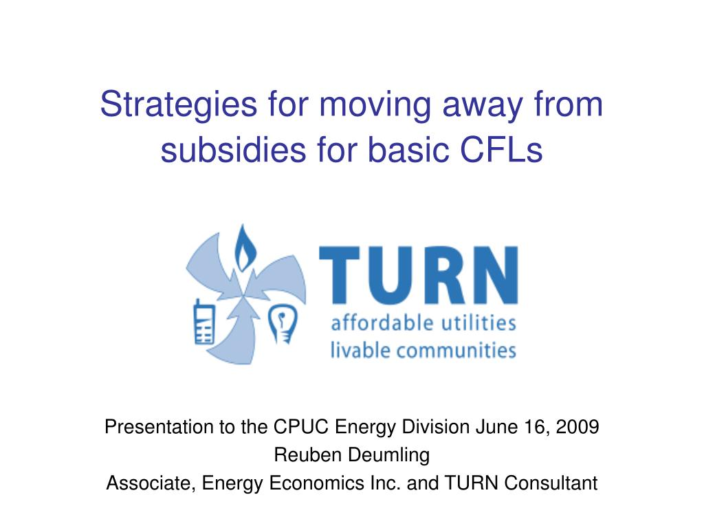 strategies for moving away from subsidies for basic cfls l.