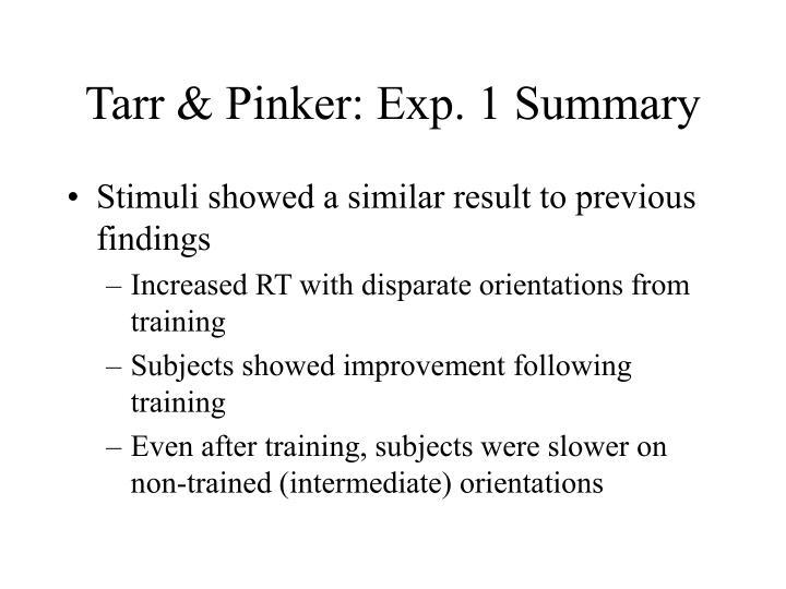 Tarr & Pinker: Exp. 1 Summary