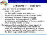 criticisms 1 local govt