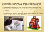 project description operation backpack