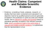 health claims competent and reliable scientific evidence