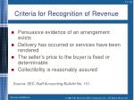 criteria for recognition of revenue
