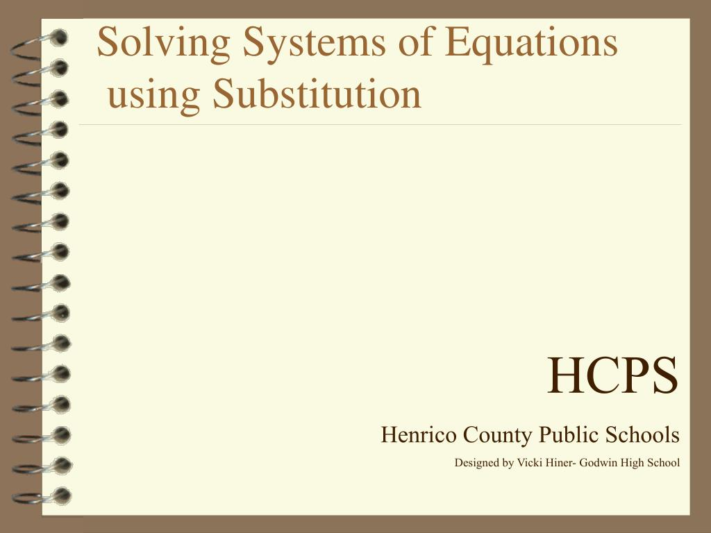 solving systems of equations using substitution l.