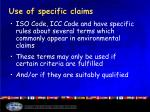 use of specific claims