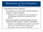 restrictions on travel expenses slide 1 of 2