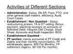 activities of different sections