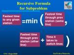 recursive formula for subproblem