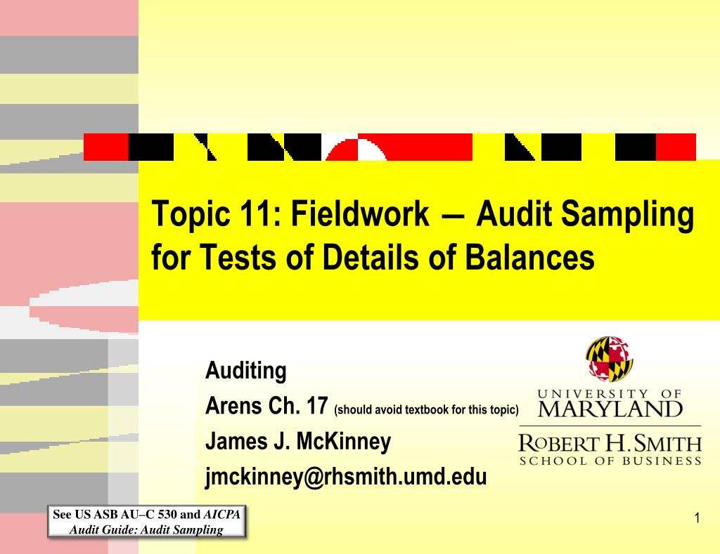 topic 11 fieldwork audit sampling for tests of details of balances l.