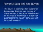 powerful suppliers and buyers