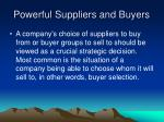powerful suppliers and buyers15