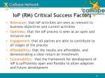 iop rm critical success factors