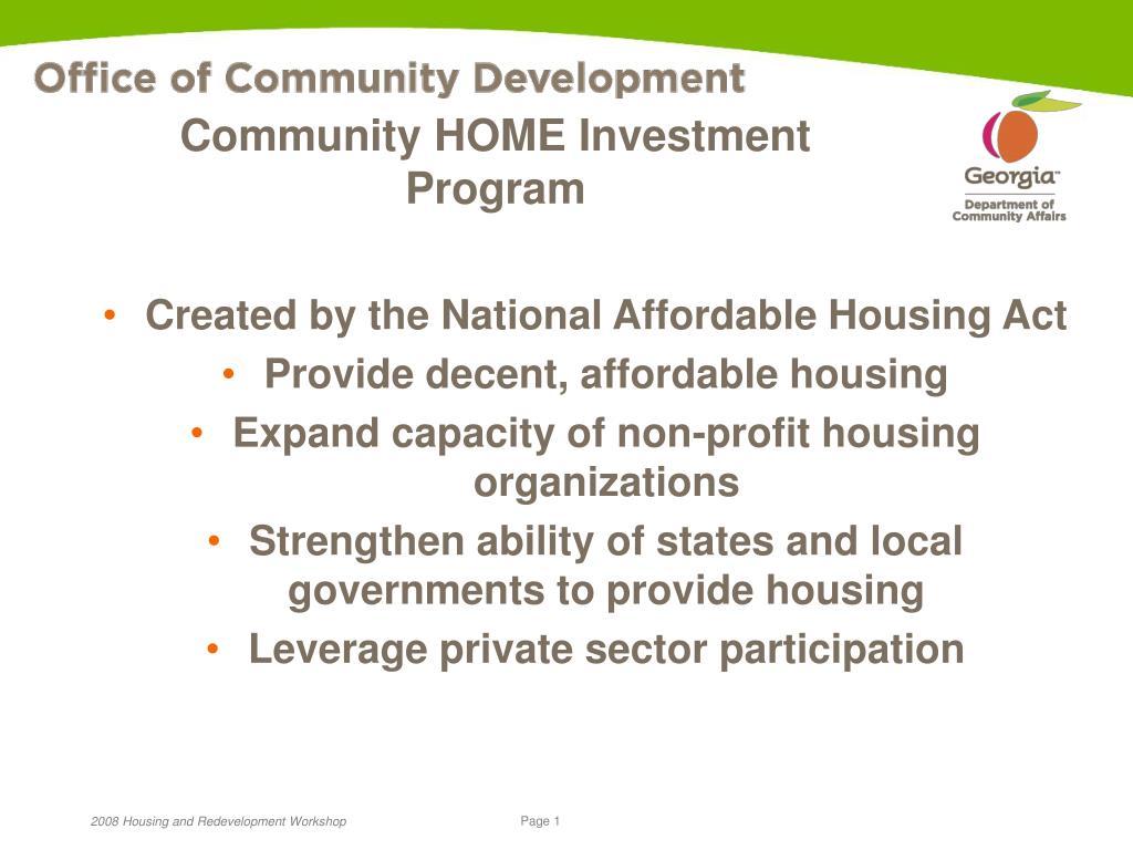 community home investment program l.