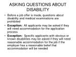 asking questions about disability