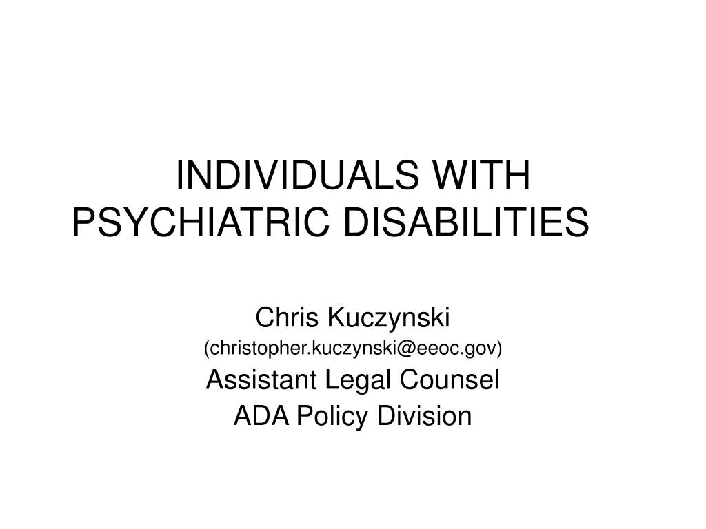 individuals with psychiatric disabilities l.