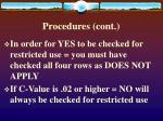 procedures cont