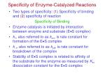 specificity of enzyme catalyzed reactions