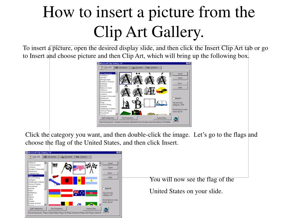 how to insert a picture from the clip art gallery l.