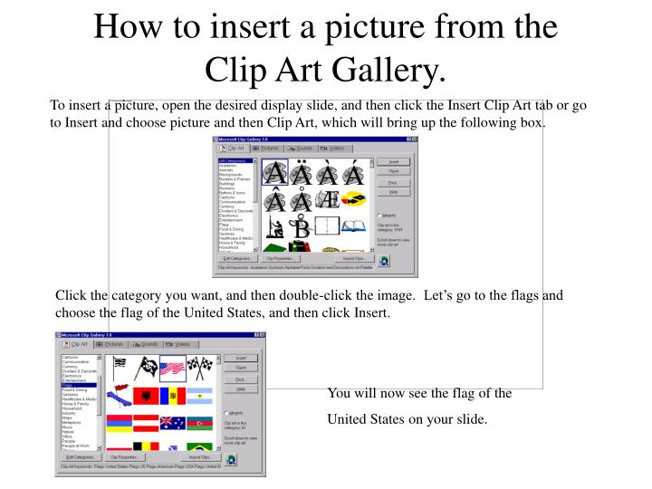 how to insert a picture from the clip art gallery n.