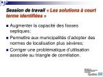 session de travail les solutions court terme identifi es