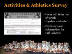 activities athletics survey