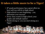 it takes a little more to be a tiger