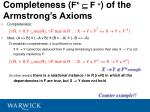 completeness f f of the armstrong s axioms