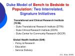 duke model of bench to bedside to population two interrelated signature initiatives