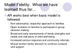 model fidelity what we have learned thus far
