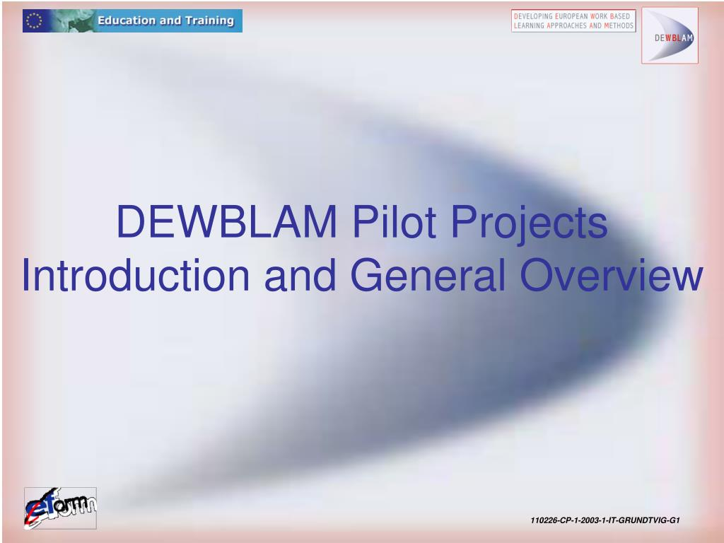 dewblam pilot projects introduction and general overview l.