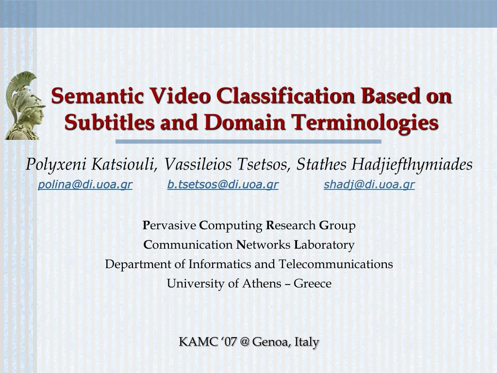 semantic video classification based on subtitles and domain terminologies l.