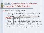 step 5 correspondences between categories wn domains