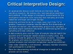 critical interpretive design